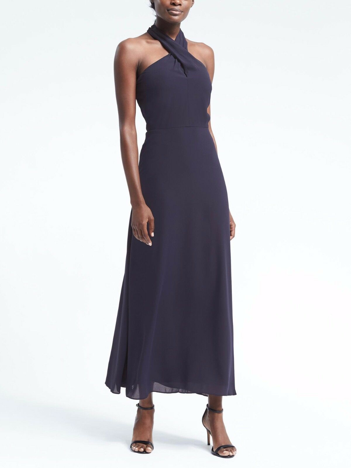 Banana Republic damen Cross Front Maxi Dress, Navy Größe 14       v829