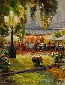 Paris-Sidewalk-Cafe-City-Summer-EVENING-LIGHT-ORIGINAL-OIL-PAINTING-Yary-Dluhos