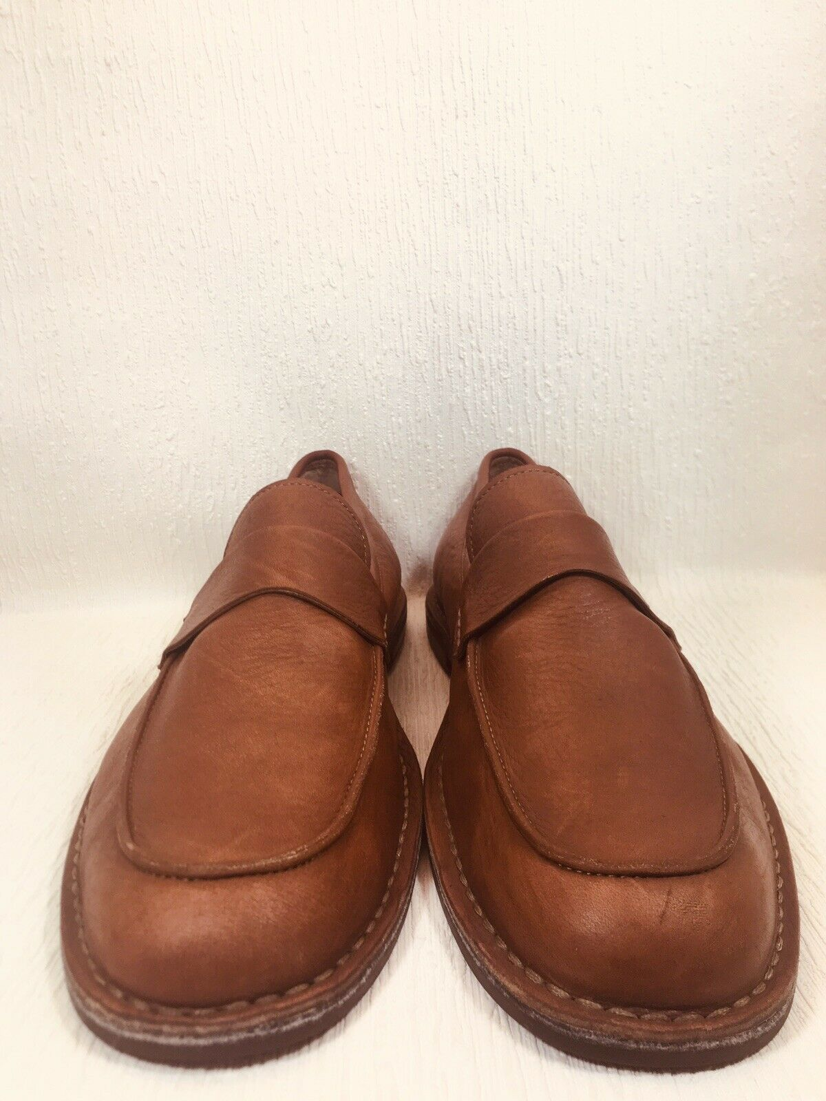 Rare Fossil Mens Tan Pebbled Aniline Leather Loafers Driving Moccasins Sz 13M