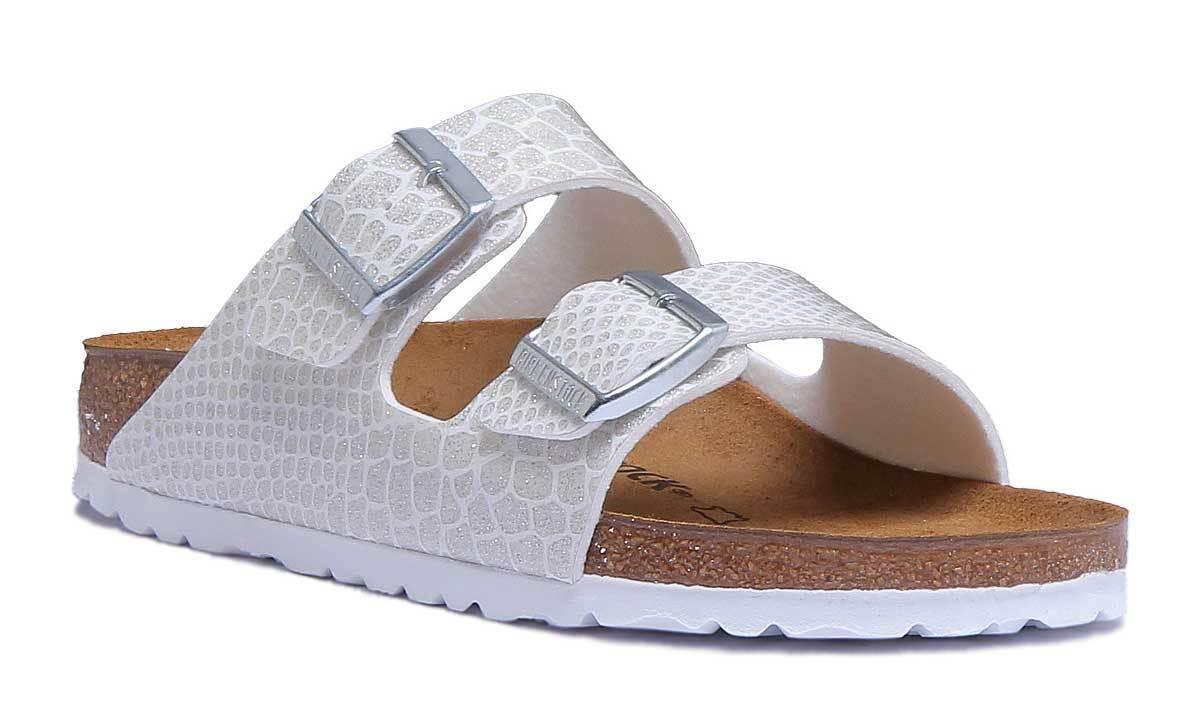Birkenstock Arizona Birko-Flor Shiny Snake Women Synthetic White Slide Sandals S