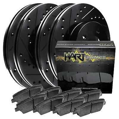 BLACK HART DRILL//SLOT BRAKE ROTORS /& PADS-Audi A4 2002-2005 1.8 Turbo FULL KIT