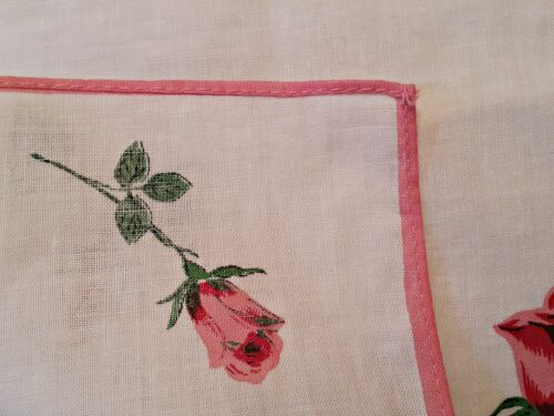 """VINTAGE FLORAL ART RED WHITE ROSES PINK BORDER WHITE COTTON 11/"""" HANDKERCHIEF"""