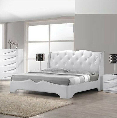 1pc Off White Lacquer Tufted Platform Eastern King Size Bedroom Furniture  Bed   eBay