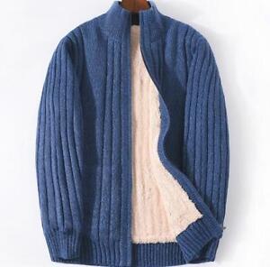 Mens-Fleece-Fur-Lining-Cardigan-Coat-Stand-Collar-WARM-Sweater-Jacket-Outwear