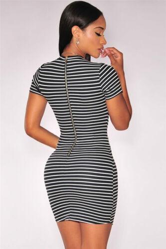 Abito a cono aperto nudo spacco scollo orlo Mini Striped Un-Even Hem Club Dress