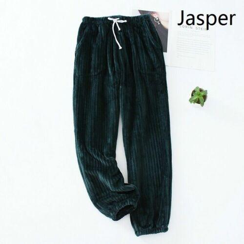 Women Pajama Bottoms Fluffy Flannel Stripe Lounge Home Pants Trouser Warm Winter