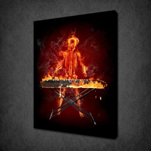 SKELETON FIRE KEYBOARD PLAYER MUSIC ART CANVAS PRINT PICTURE READY TO HANG