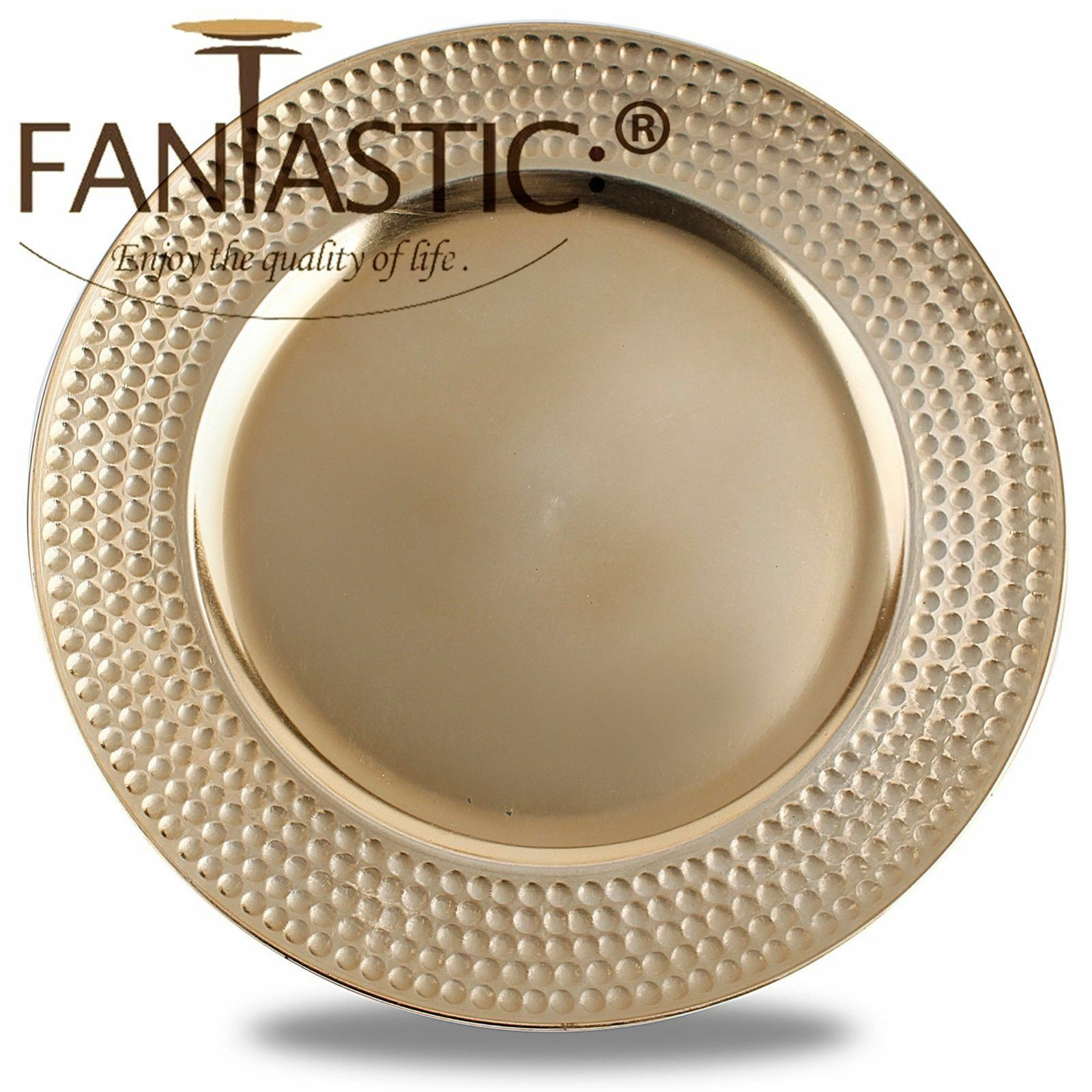 Fantastic )™ Round 13Inch Charger Plate With Metallic Finish ( Hammer Pattern )
