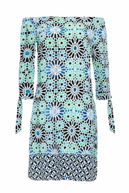 b253abfd365c BNWT Wallis Womens Blue Turquoise Tile Print Bardot Dress UK 10 Everyday  Dress