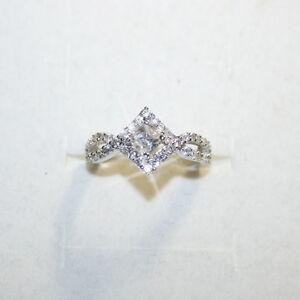 ba50d986993c5 Details about Princess Diamond Alternatives Engagement Promise Ring 14k  White Gold over 925 SS