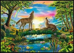 Wolf-Howling-in-Nature-Chart-Counted-Cross-Stitch-Pattern-Needlework-Xstitch
