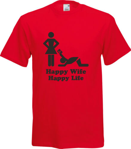 HAPPY WIFE HAPPY LIFE FUNNY HUMOR VALENTINES GIFT PRESENT COTTON T SHIRT