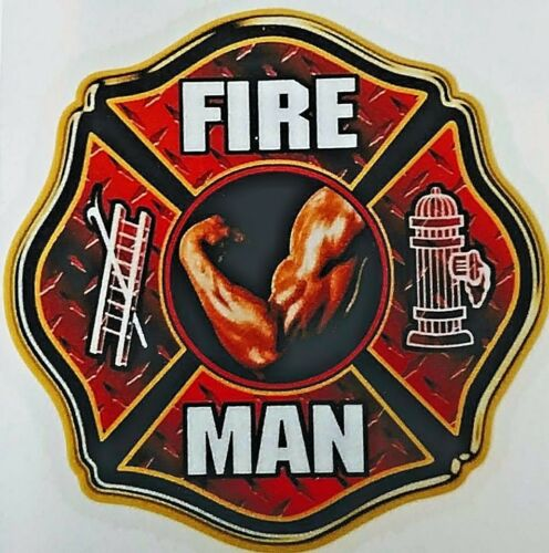 """FIRE MAN Full Color HIGHLY REFLECTIVE Firefighter Decal 2/"""" x 2/"""""""