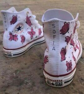 Dettagli su Converse All Star stivaletto bianco con farfalle rosa.Possibilità di scelta nome