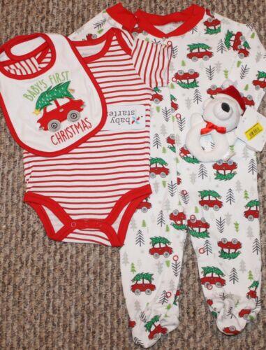 Bib, Shirt, Sleeper, Rattle 9 mo New Baby Boys 4 pc 1st Christmas Set Size 6