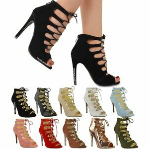 LADIES WOMENS HIGH HEELS STILETTOS LACE UP GLADIATOR ANKLE SANDALS