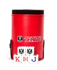 NEW TECATE CUBILETE POKER CUP SHAKER DICES AMERICAN DICE BUTANO
