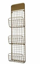 Antico Filo di Rame giornale Rack industriale mesh MAGAZINE HOLDER Storage muro