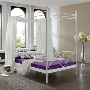 Das Bild Wird Geladen Metallbett Lisa Schlafzimmer Himmelbett  Gestell In Weiss 120