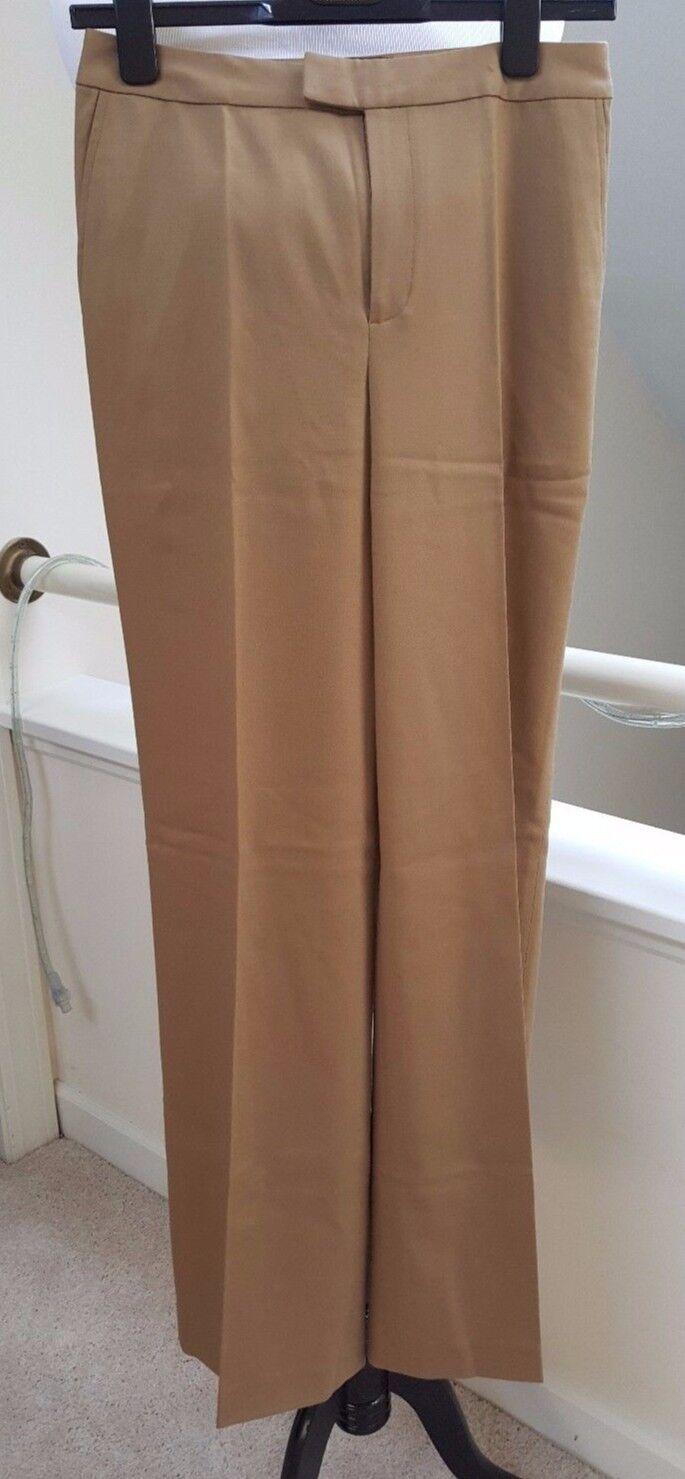 New Ellen Tracy Wool Staight Leg Trouser Pants, Beige Khaki, Size 2
