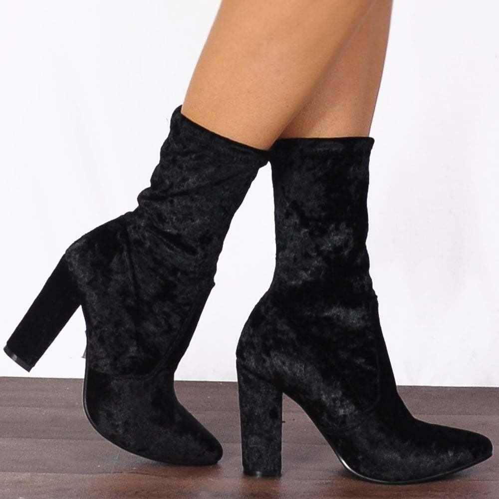 BLACK VELVET CRUSH SOCK PULL ON STRETCH ANKLE HIGH BOOTS HIGH HEELS SHOES SIZE
