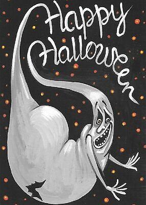 ACEO Halloween SIGN SLEEPY HOLLOW RYTA CEMETERY HORSEMAN HORSE PRINT OF PAINTING