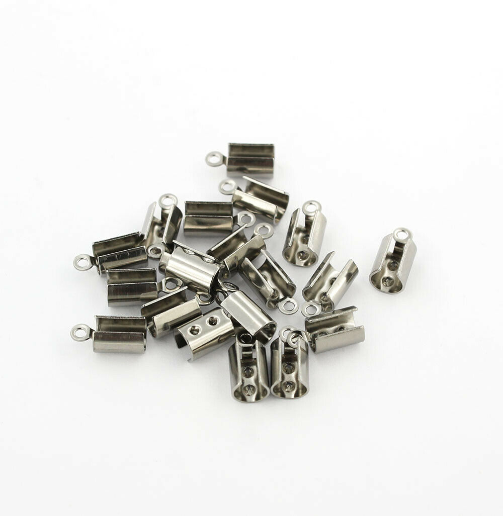 25 Stainless Steel Ribbon End Caps Textured Crimp Beads 8mm x 6mm FD480