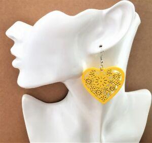 Fab-Lightweight-Heart-Wooden-Dangle-Earrings-Flower-Design-in-YELLOW-UK-seller