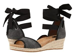 a5f847c20ec Details about UGG Australia Amell Black Canvas Wedge Sandal Women's Sizes  7-10/NEW