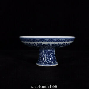 old China antique Qing Dynasty Blue and white Flower High foot porcelain plate
