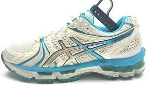 Asics-Gel-Kayano-18-Women-039-s-Running-Shoes-T250N-White-Blue-Size-8-Sneakers