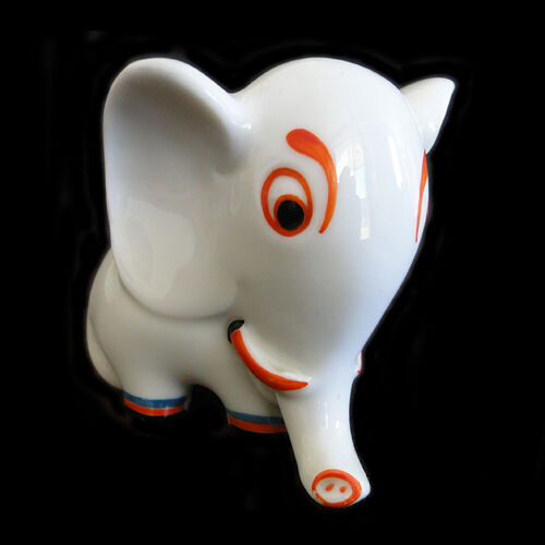 Groteske Walter Bosse Design für Metzler & Ortloff Elephant Porzellan Elefant