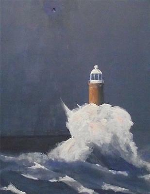 Northern Art Original Painting TYNEMOUTH LIGHTHOUSE  SW WARD M.A. FINE ART