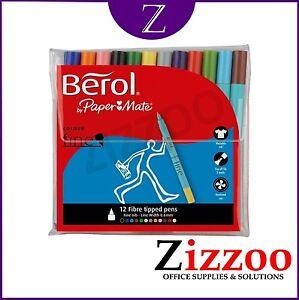 Berol-Color-plumas-punta-fina-colores-surtidos-Paquete-de-12