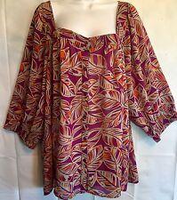 Women's Plus Size 3X/4X 26W/28W Ninety Purple Orange Floral Top Shirt Blouse Sz