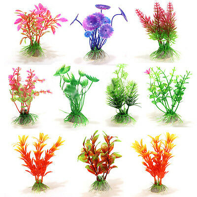 10Mixed Artificial Aquarium Fish Tank Water Plant Plastic Decoration Ornament LW