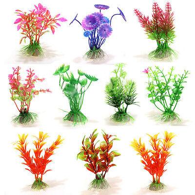 10Mixed Artificial Aquarium Fish Tank Water Plant Plastic Decoration Ornament LW
