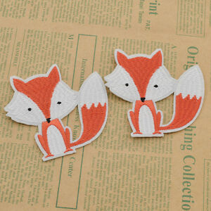 2-Pcs-Lovely-Fox-Embroidered-Iron-On-Patch-Handcraft-Clothes-Sewing-Accessories