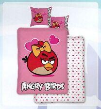 Próxima Angry Birds Rosa Corazones solo PANEL duvet Pájaro Rojo Conjunto Edredón Cubierta Ropa De Cama