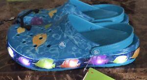 b219ea6104fe5 Crocs Crocband Lights💡 Fish Clog Electric Blue LED LIGHTUP Size M4 ...