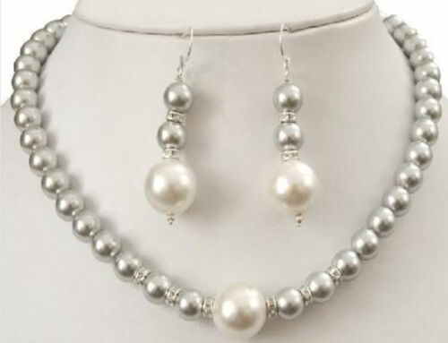 Fashion 8-12 mm Gris South Sea Shell Pearl Gemstone Collier Boucles d/'oreilles Set 18/'/'AAA