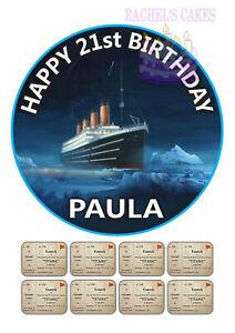 TITANIC SHIP PERSONALISED EDIBLE ICING BIRTHDAY CAKE ...
