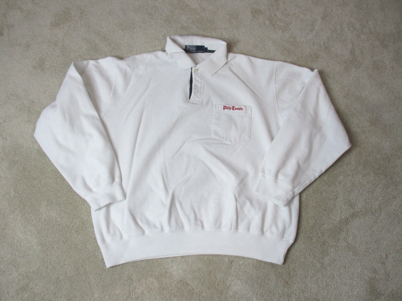 VINTAGE Ralph Lauren Polo Tennis Sweater Adult Large Weiß ROT Spell Out Men 90s