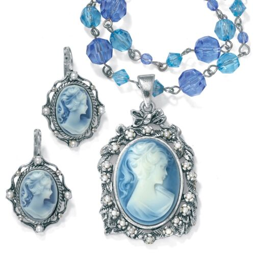 Simulated Pearl /& Lucite Cameo 2-Pc Set Antiqued Silvertone