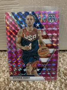 2019-20-Panini-Mosaic-Stephen-Curry-USA-Pink-Camo-Prizm-Warriors-SP-Parallel