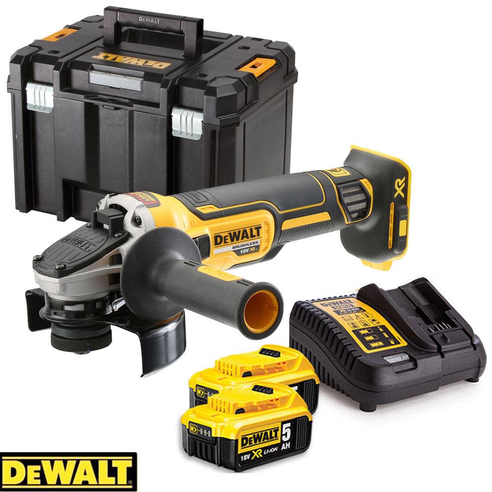 Dewalt DCG405N 18V Brushless Angle Grinder + 2 x 5Ah Batteries, Charger & Case