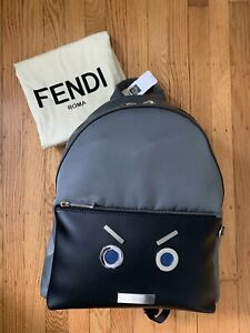 c9e47fce9010 Details about RARE Sold-out Saks-Exclusive Authentic Fendi Faces Black Grey  Leather Backpack