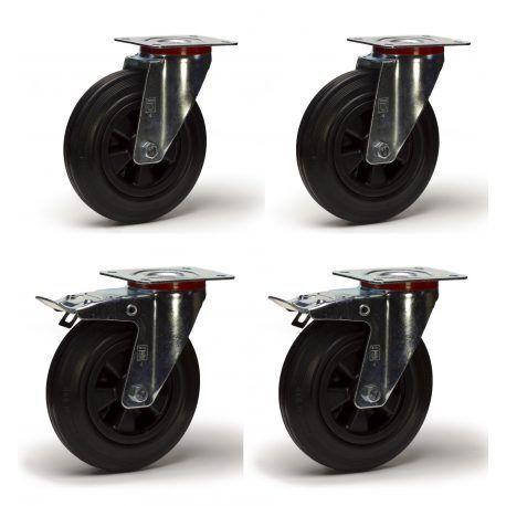 Lot roulettes pivotantes et pivotantes à frein  caoutchouc noir 200mm 615Kg