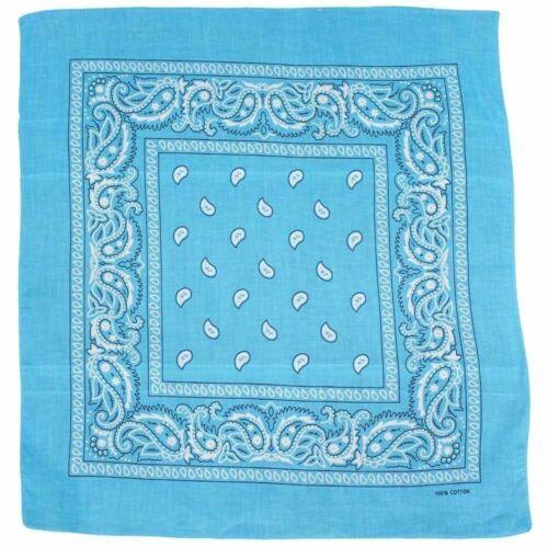Turquoise Blue Classic Modern Paisley 100/% Cotton 55x55cm Bandana
