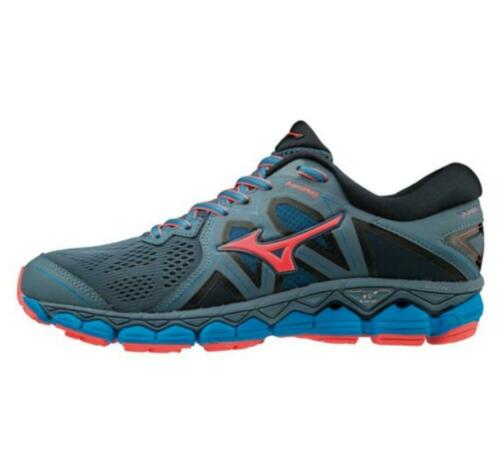 NEW Mizuno WAVE SKY 2 BLUEM//FCORAL//DBLUE WOMEN J1GD180255 Running Shoes